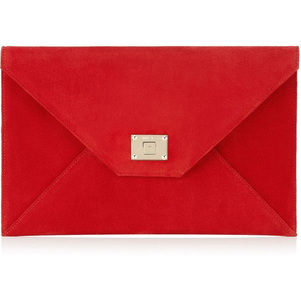 Jimmy Choo ROSETTA Red Suede Clutch Bag (2.415 RON) ❤ liked on Polyvore featuring bags, handbags, clutches, red, suede purse, jimmy choo clutches, jimmy choo purses, envelope clutch and red purse