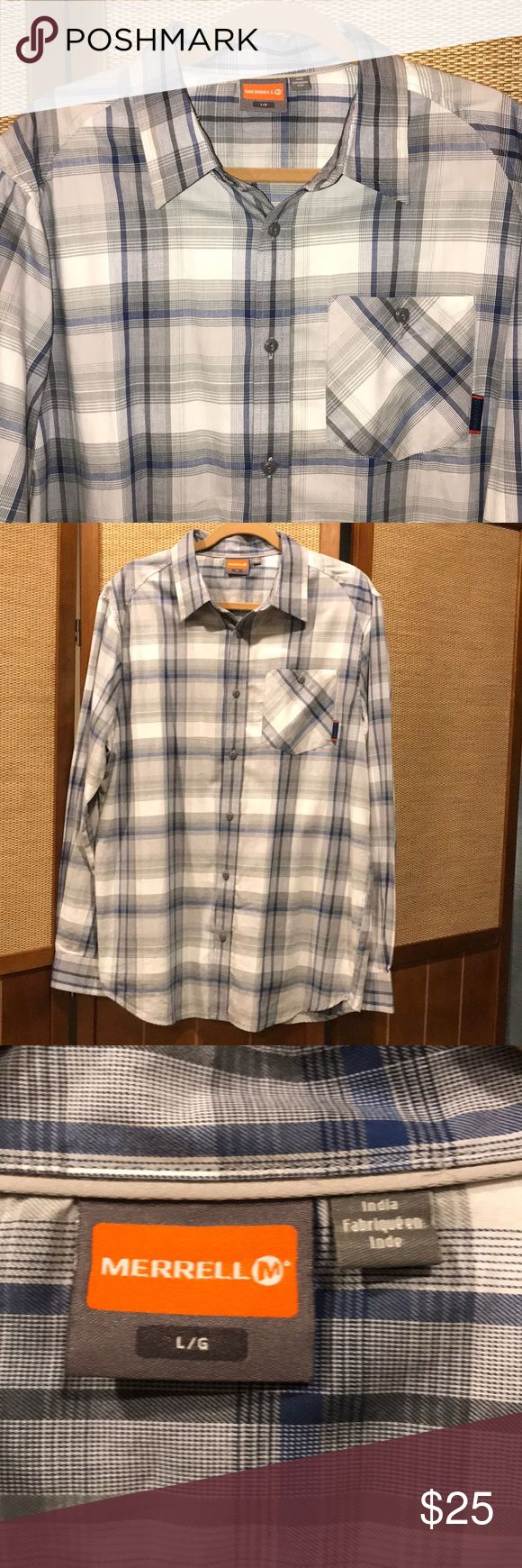 Merrell Men's Shirt Only worn a handful of times. Like new condition! Rich, royal blue plaid. Save 💵 and bundle! 👍🏼 Merrell Shirts Casual Button Down Shirts