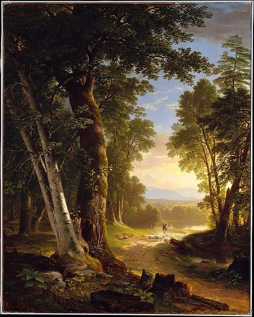 This work, featuring meticulously rendered beech and basswood trees, was painted for the New York collector Abraham M. Cozzens, then a member of the executive committee of the American Art-Union. The painting illustrates a new trend in the work of the Hudson River School, with its diminished emphasis on sublime drama and increased interest in naturalism and in the creation of a tranquil mood