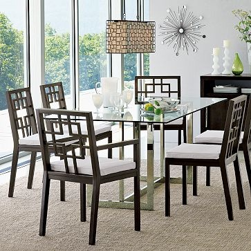west elm hicks glass top dining table 60x36 or 880 x 40 399 - Glass Topped Dining Room Tables