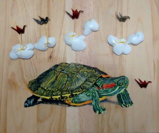 Y la lluvia llegará a su debido tiempo ☔☔ #illustration  #art  #paint #turtle #overwood  #clouds #bird #green #animal #bytallersancho #expedicionesalreinoanimal