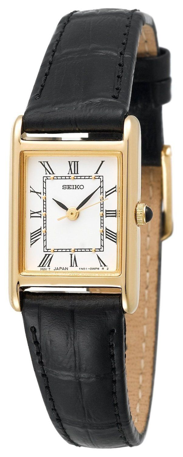 Black leather watch.  I just bought this and love it.   Looks like a classic Cartier tank for under $100.