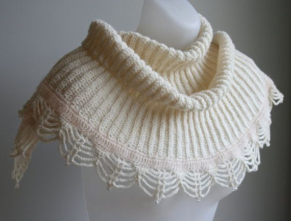 Beaded bridal shawl with antique crochet edge by KororaCrafters