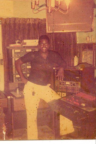 "Leroy ""Fatman"" Thompson inside King Tubby's studio"