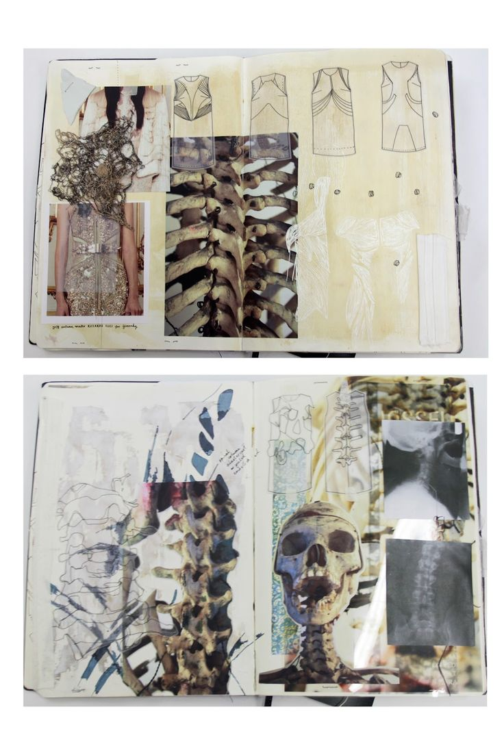 Fashion Sketchbook - skeletal forms, patterns & textures - fashion design & development // Natasha Elliott