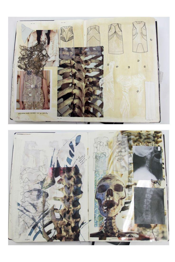 Fashion Sketchbook - skeletal forms, patterns & textures - fashion design & development // Natasha Elliott