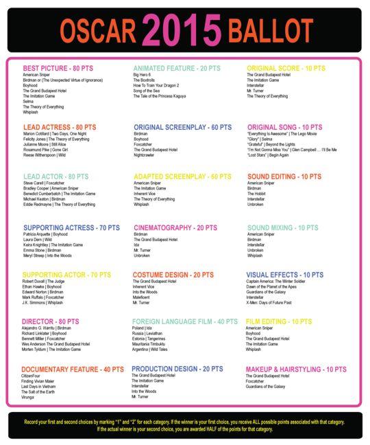 ... : Oscar Night, Oscars Madness, Oscars 2015, Oscar Party, Oscar Ballot