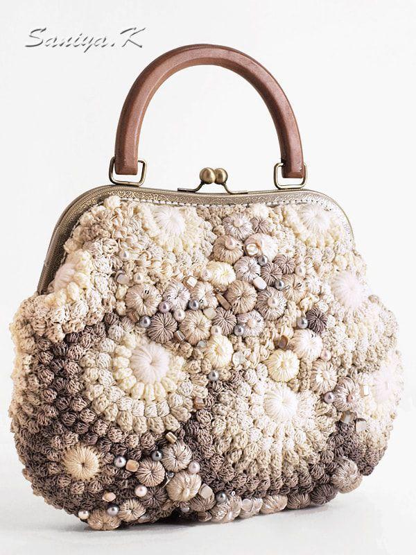 """Купить Сумка вязаная """"Валери"""" светлая - сумка вязаная, сумки вязаные, вязаная сумка"""
