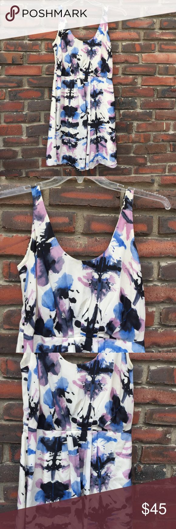 Charlotte Ronson size 2, 100% Silk Dress Charlotte Ronson, size 2, Zipper up the back, sleeveless, fully lined just a great summer dress light and airy, in orchid, black, blue and cream colored silk. Charlotte Ronson Dresses Midi