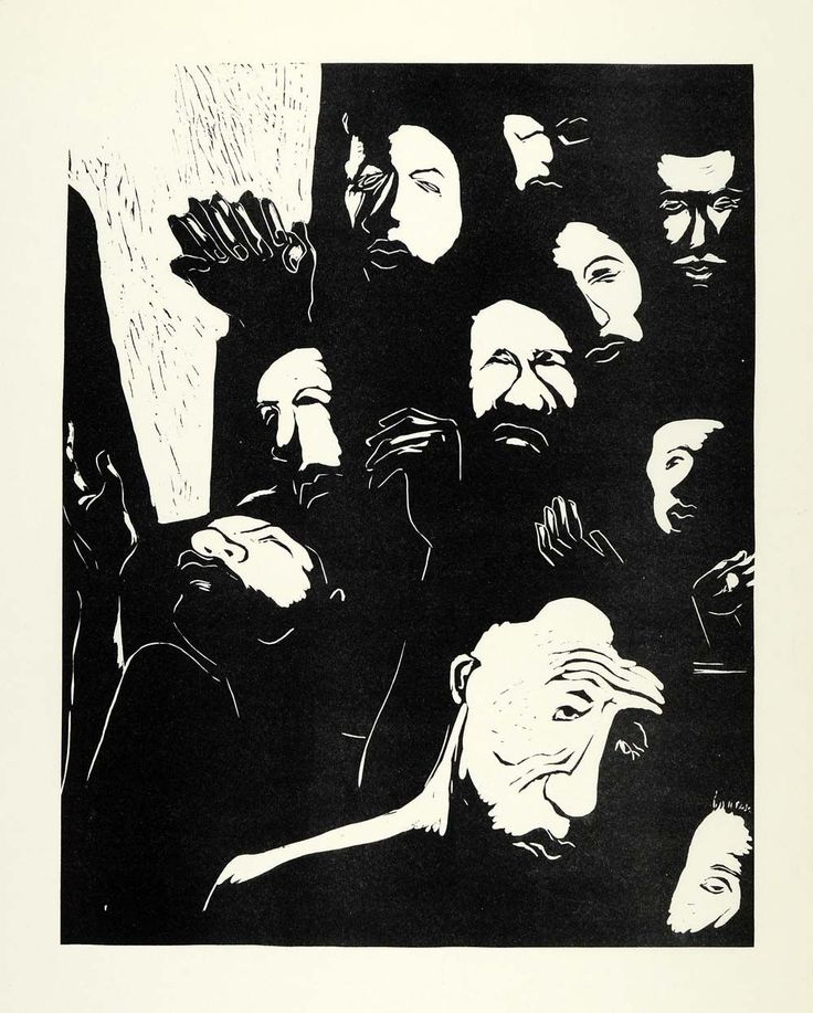 """This is an original 1967 black and white linocut of """"Lift Us, We Pray"""" by Leroy W. Henderson. A native of Richmond, Virginia, Henderson studied at Virginia State College and the Pratt Institute in Bro"""