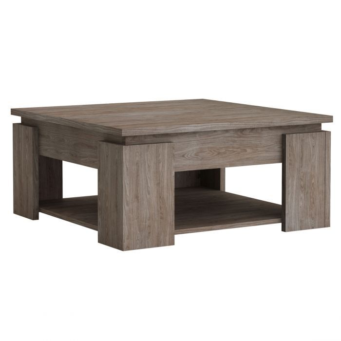 Table Basse Carree Decor Noyer Et Plateau Beton Clair Bastille Wooden Coffee Table Coffee Table Tea Table Design