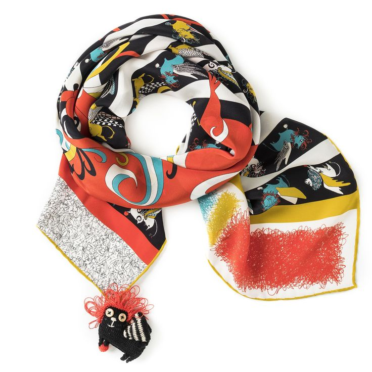 """Rumisu - Pixiu print  silk scarf from """"Marching with Myths"""" collection, exclusive Istanbul color version"""