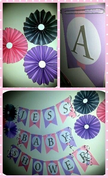 Banner and paper rosettes made by Www.facebook.com/celebrationsbynic