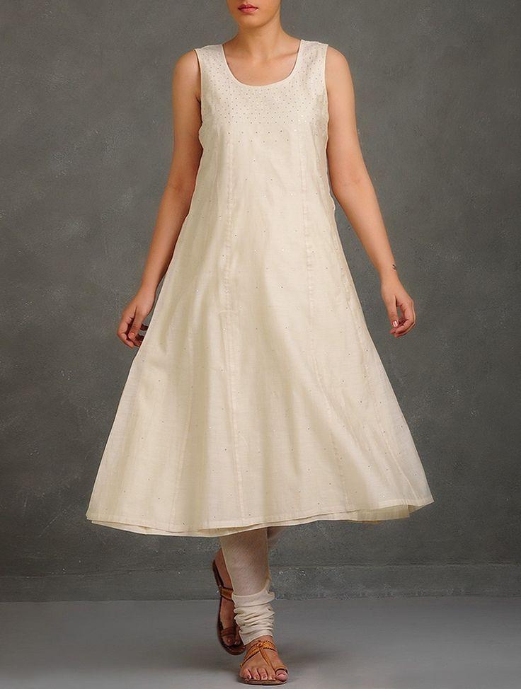 Buy Ivory Mukaish Embellished Kalidaar Cotton Kurta with Tie Up Churidar (Set of 2) Women Kurtas Summer Whites Appliquéd & Apparel Online at Jaypore.com