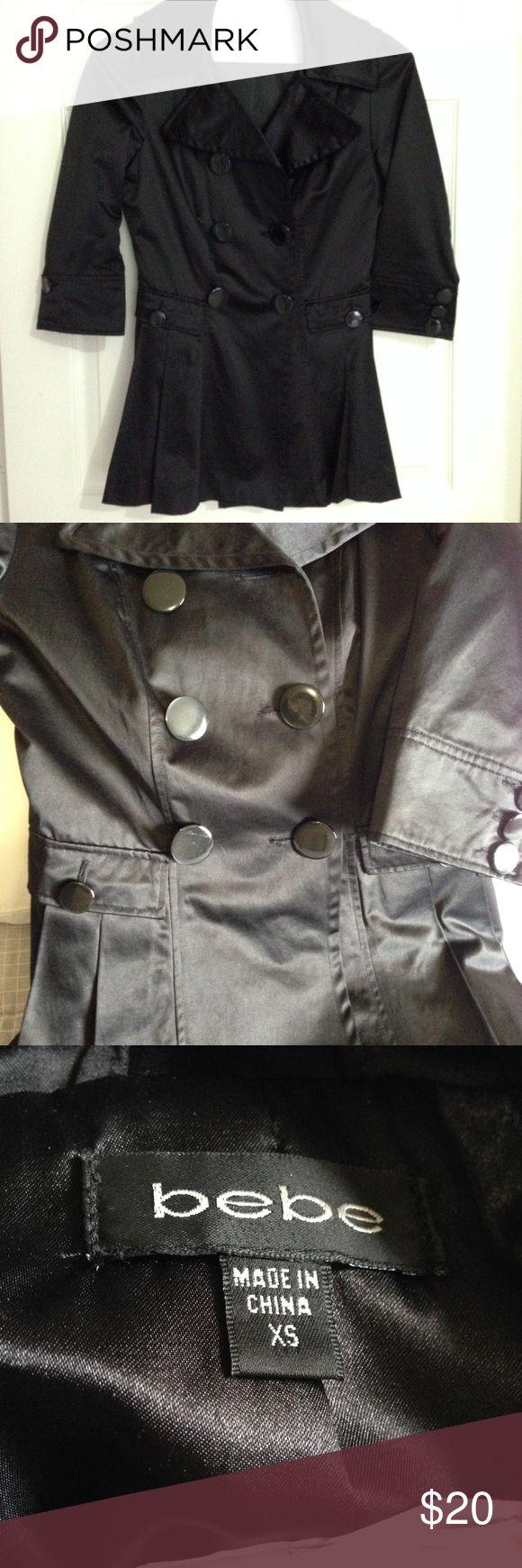 Bebe coat Bebe satin short coat missing one button on the sleeve bebe Jackets & Coats Blazers