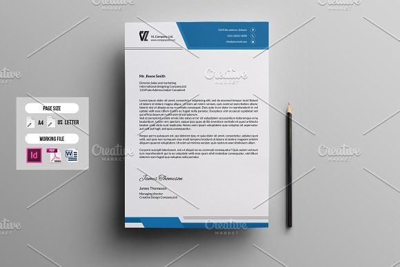 Corporate Letterhead TemplateV By Template Shop On