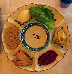 Each of the six items arranged on the Passover Seder plate has special significance to the retelling of the story of the exodus from Egypt, which is the focus of this ritual meal. The seventh symbolic item used during the meal — a stack of three matzos — is placed on its own plate on the Seder table. Others place the Seder plate on top of the stack of matzos.