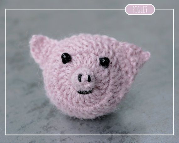 Tiny crocheted Piglet toy//brooch//magnet made by MalnaMarket