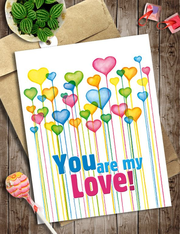 Love Card Instant Digital Download, Hearts Printable Art , Anniversary Card, You are my Love Invitation, Watercolor Heart Balloons Wall Art by NopiArtStudio on Etsy