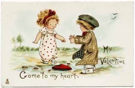 Happy Valentine's Day! - valentine, vintage, card, couple, girl, boy, word