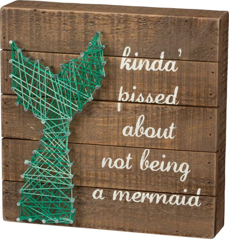 Not A Mermaid String Art Wooden Box Art Sign