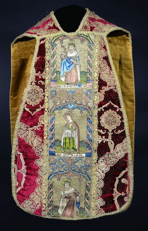 Cardinal Vincent Nichols will wear an ancient vestment believed to be from the royal wardrobe of King Richard III when he celebrates Mass for the repose of the soul of the monarch's soul in Leicester, known as the Westminster Vestment, the chasuble is part of the heritage collection of Ushaw College, the former Catholic seminary in Ushaw Moor, Durham, England