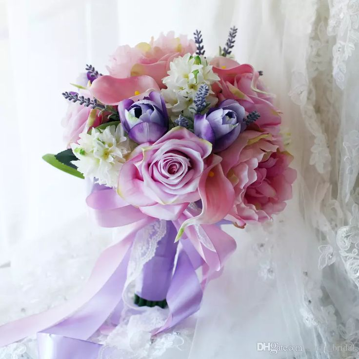 2017 Pink Blue Country Bridal Holding Brooch Bouquets Rose Peony Hyacinth Lily Tulip Silk Artificial Wedding Decoration Bridesmaids Flowers