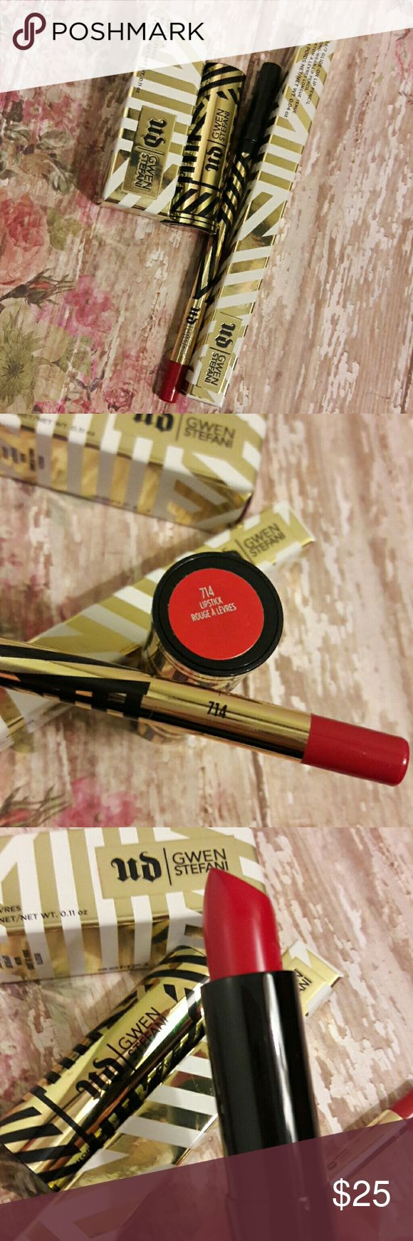 BNIB UD Gwen Stefani Lip Set **AUTHENTIC** Brand new never used. Still have original boxes they came in. Limited Edition, no longer sold. In the Shade 714. Listing includes the lipstick and lip pencil. Reasonable offers accepted. No trades. Urban Decay Makeup Lipstick