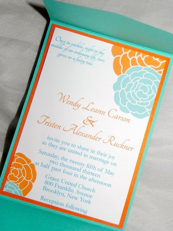 Pocket Fold Orange and Turquoise Wedding Shop: www.etsy.com/shop/mysentimentsinvites
