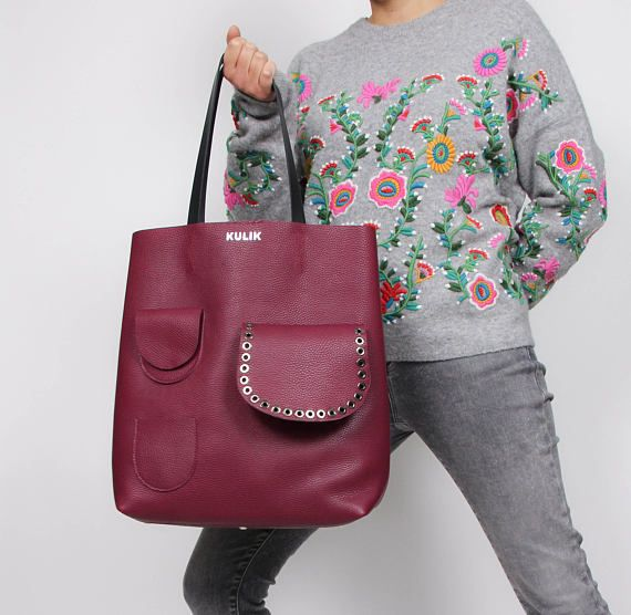e5fe1a7b42f Purple leather tote bag, Purple, large everyday casual tote, modern tote bag,  modern laptop bag, real leather, shoulder bags for women   Leather totes,  Tote ...