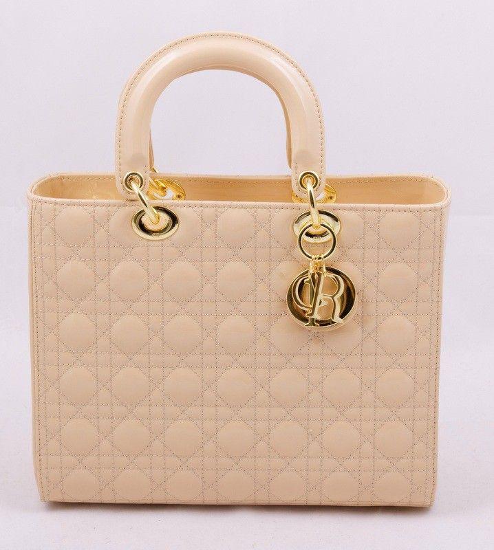 Сумочка Lady Dior из натуральной кожи с лаковым покрытием. Кремовый цвет, золотистая фурнитура