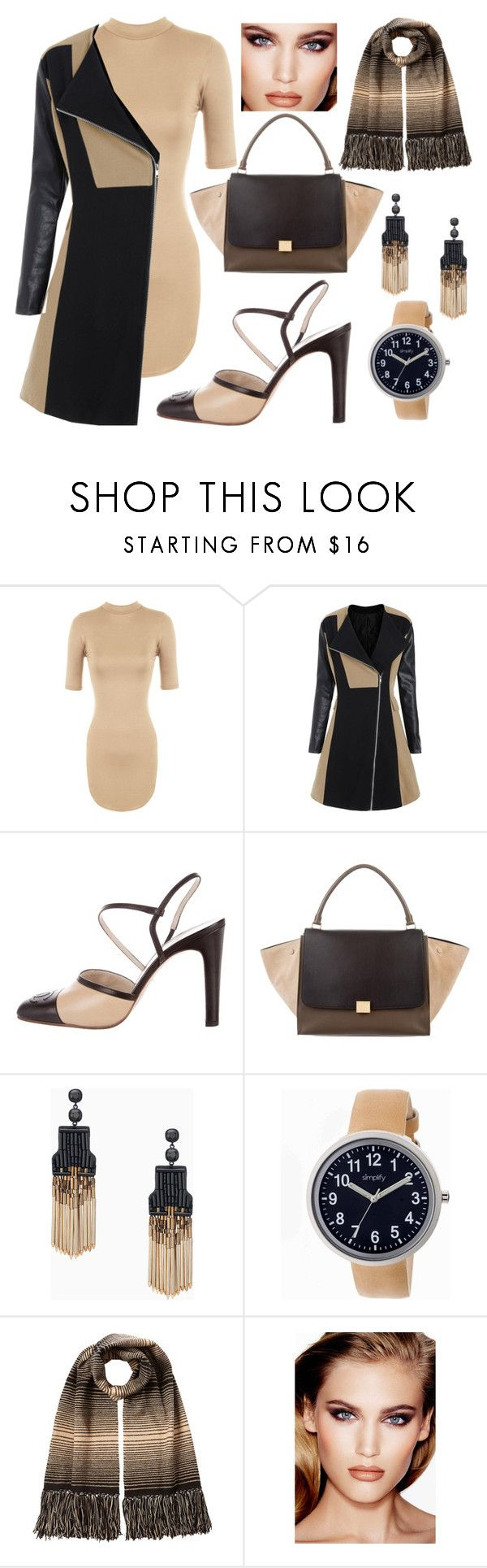 """""""Black and Tan"""" by lone-star-lady ❤ liked on Polyvore featuring WearAll, Chanel, CÉLINE, Stella & Dot, Simplify, Missoni and Charlotte Tilbury"""