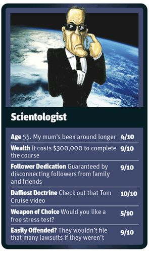 Scientologist card | God Trumps card game, devised by Christina Martin, cartoons by Martin Rowson.