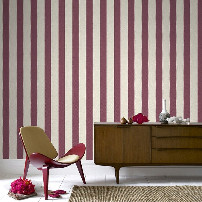 Ticking Stripe Russet Wallpaper by Graham and Brown