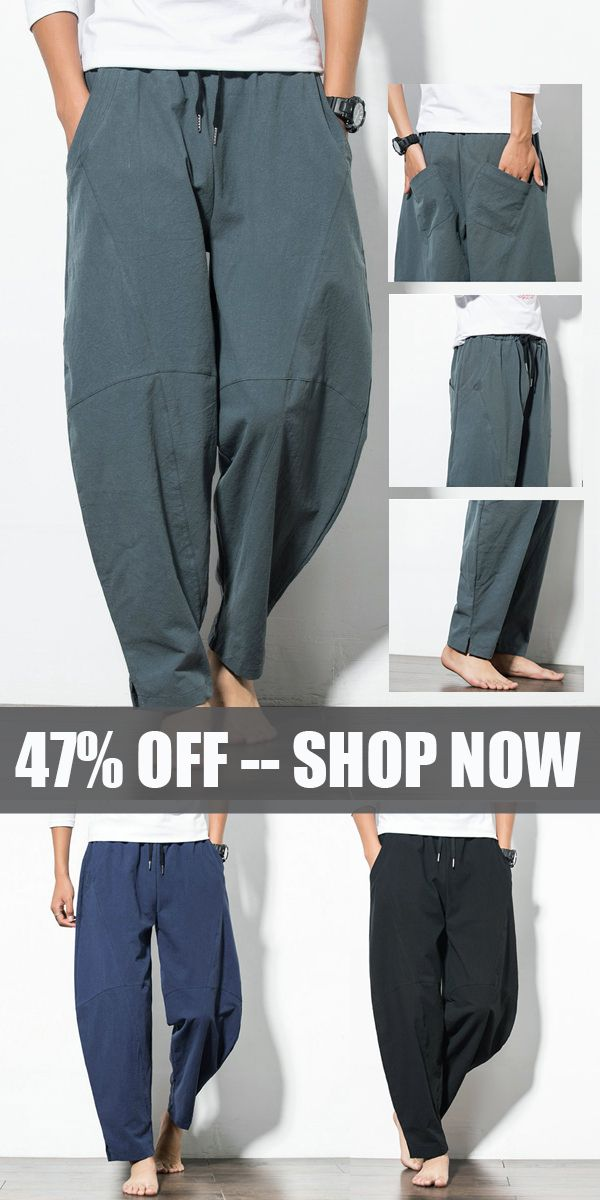 d4ca28b4faa Mens Baggy Cotton Harem Pants  Loose Wide Leg Pants casual  style  pants