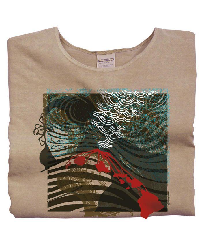 Pele Kilauea - Kona Coffee-Dyed Scoop-Neck T-Shirt