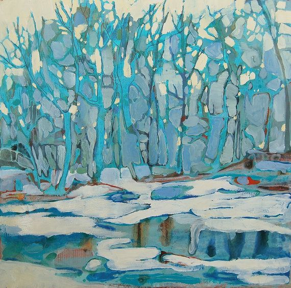 Art Print  Forest Winter Painting 11 x 11 inches by giallobee