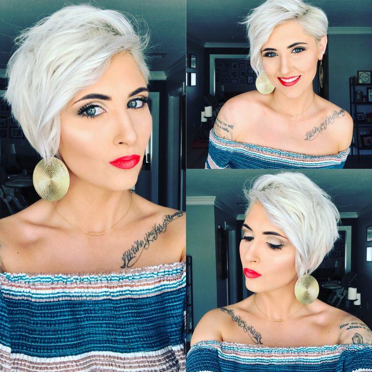 Pixie platinum pixie short pixie pixie haircut short pixie cut platinum blonde pixie blonde pixie Younique makeup rayahope coral lipstick