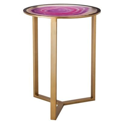 Threshold Glass Faux Agate Accent Table Pink