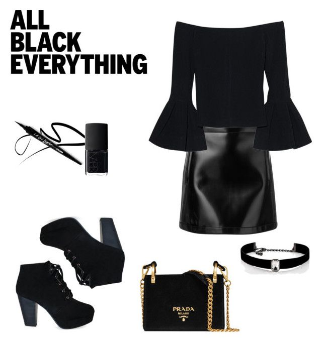 """""""All black everythig"""" by dorothysmile ❤ liked on Polyvore featuring Philosophy di Lorenzo Serafini, Alexis, Prada, Kenneth Jay Lane and NARS Cosmetics"""