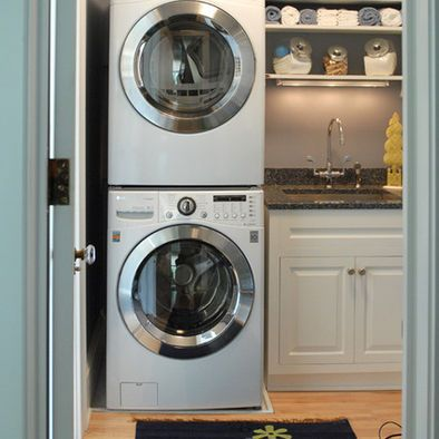 64 best images about laundry room on pinterest shelves washer and washer and dryer - Small space laundry set ...