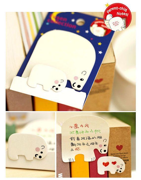 Kawaii Polar Bear Sticky Notes Post-it notes sticky by BobbyTin