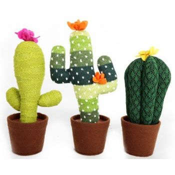 Large Knitted Cacti Decor: This soft and fuzzy knitted cacti ornament is available in dark green with a yellow flower.
