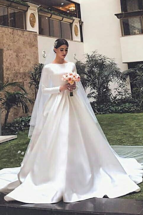 White Satin Modest Wedding Dresses with Long Sleeves 9