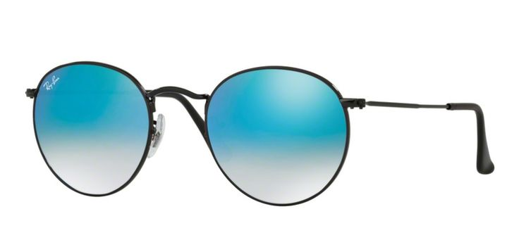 Ray-Ban for man rb3447 (ROUND METAL)  - 002\/4O (SHINY BLACK\/mirror gradient blue), Designer Sunglasses Caliber 50