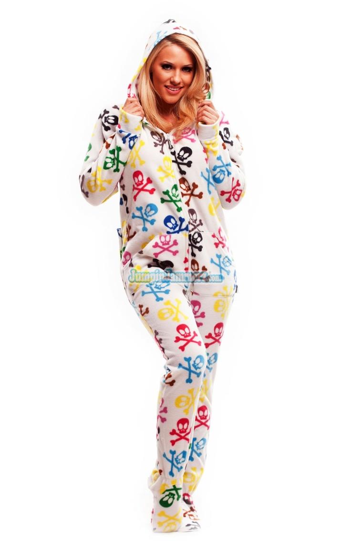 Silly Skulls Hooded Footed Pajamas Pajamas Footie Pjs
