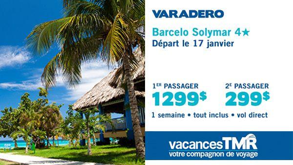 Barcelo Solymar 4* Départ le 17 janvier 1 semaine - Tout inclus - vol direct
