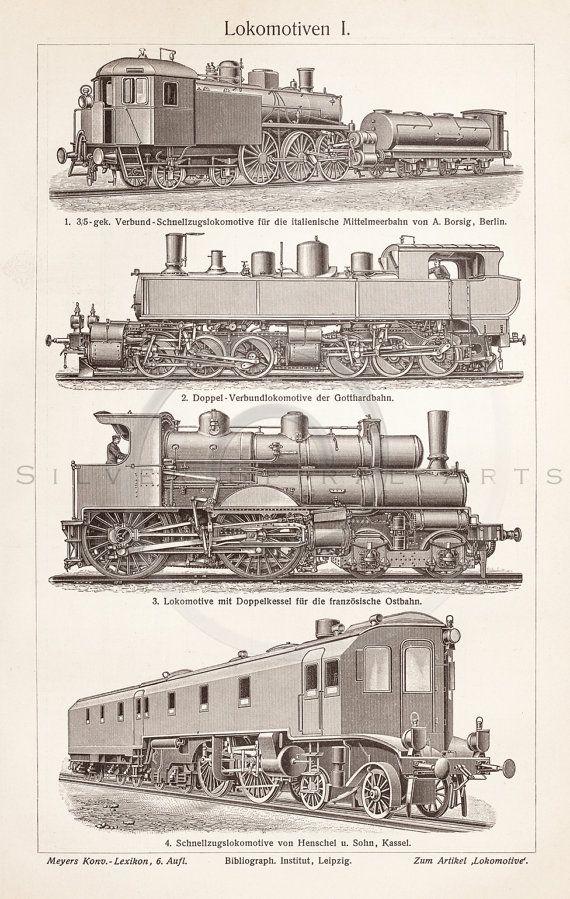 Vintage Train Printable Transportation Illustration 1800s Antique Print Digital Image Clip Art Retro Trains Drawing Instant Download ZS