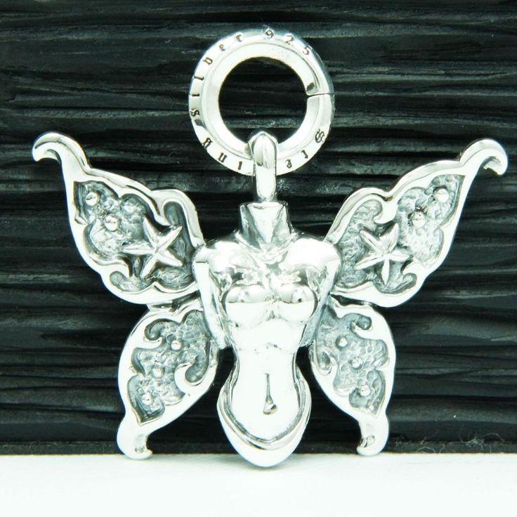 ANGEL BUTTERFLY WING 925 STERLING SILVER BIKER PENDANT cs-044