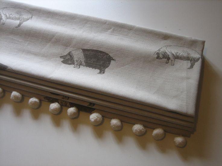 Roman Blind In Emily Bond Saddleback Pigs Fabric With